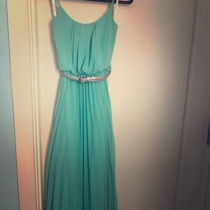 Mint green maxi dress with belt